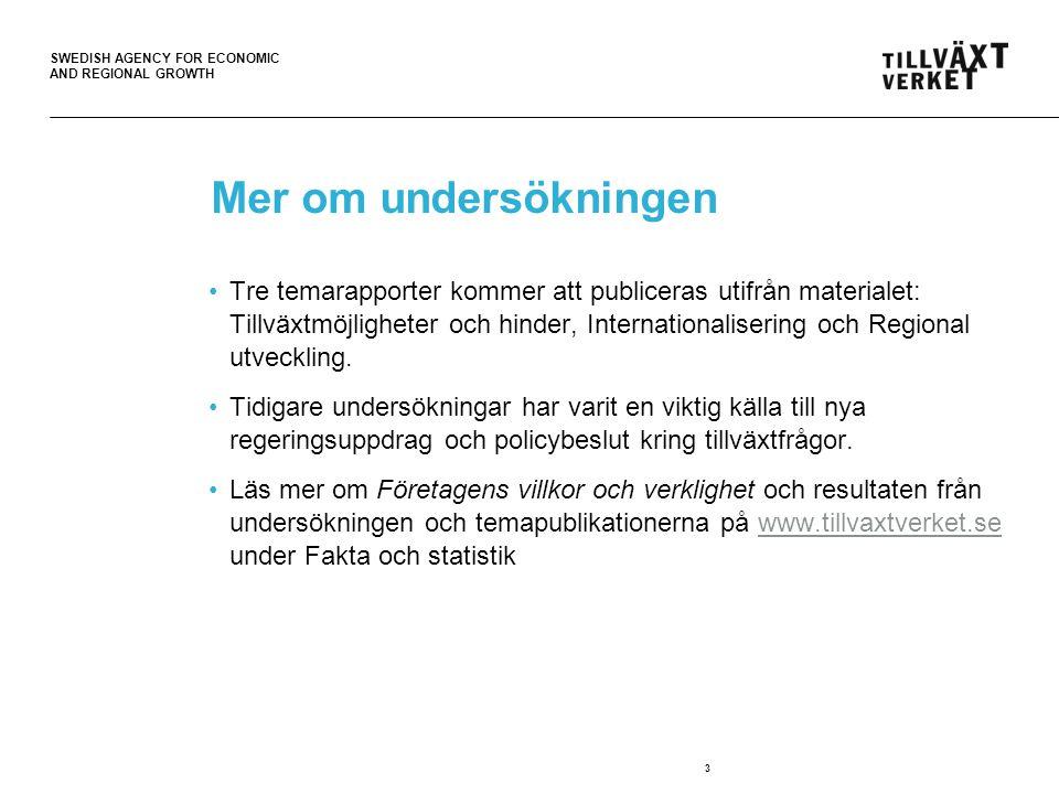 SWEDISH AGENCY FOR ECONOMIC AND REGIONAL GROWTH Mer om undersökningen Tre temarapporter kommer att publiceras utifrån materialet: Tillväxtmöjligheter