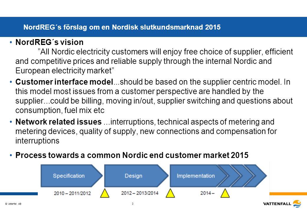 "© Vattenfall AB 3 NordREG´s förslag om en Nordisk slutkundsmarknad 2015 NordREG´s vision ""All Nordic electricity customers will enjoy free choice of s"