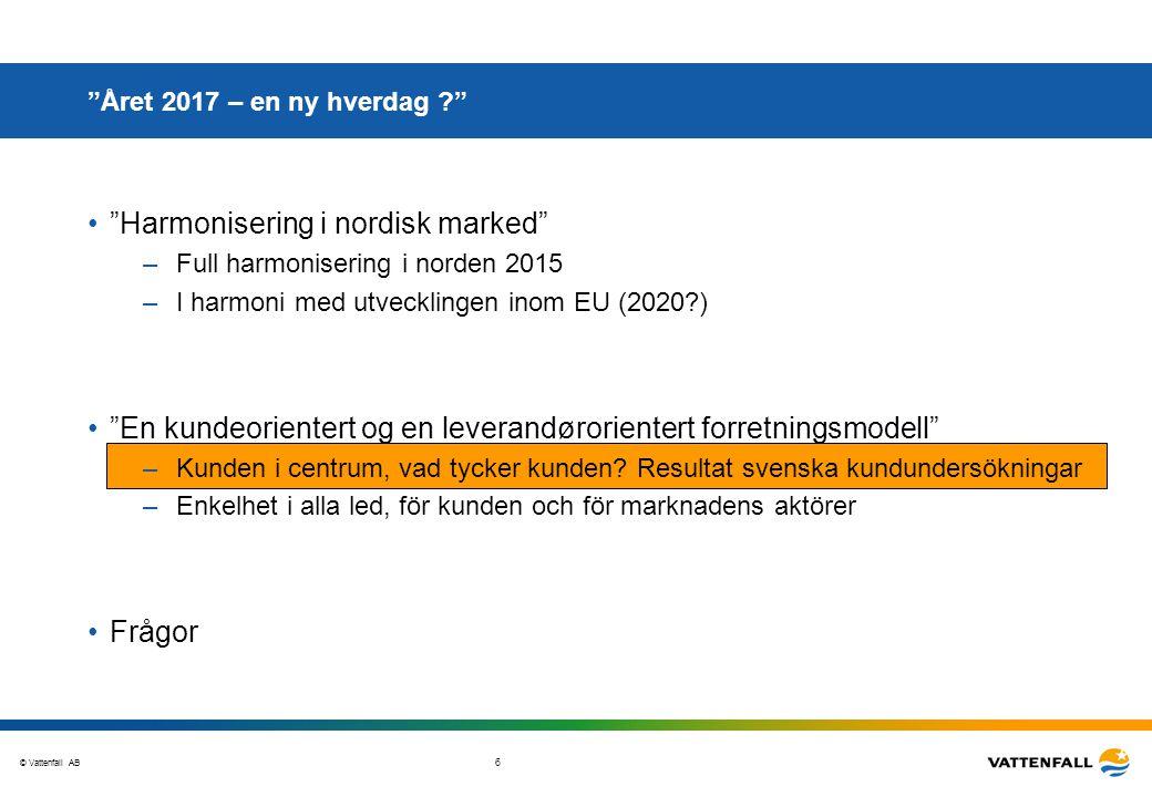 © Vattenfall AB 17 Året 2017 – en ny hverdag ? Harmonisering i nordisk marked –Full harmonisering i norden 2015 –I harmoni med utvecklingen inom EU (2020?) En kundeorientert og en leverandørorientert forretningsmodell –Kunden i centrum, vad tycker kunden.