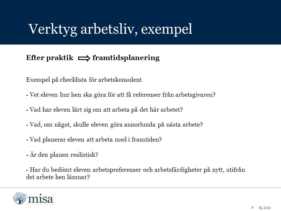 Verktyg arbetsliv, exempel 8 SL 2014 Exempel på checklista för arbetskonsulent - Vet eleven hur hen ska göra för att få referenser från arbetsgivaren.