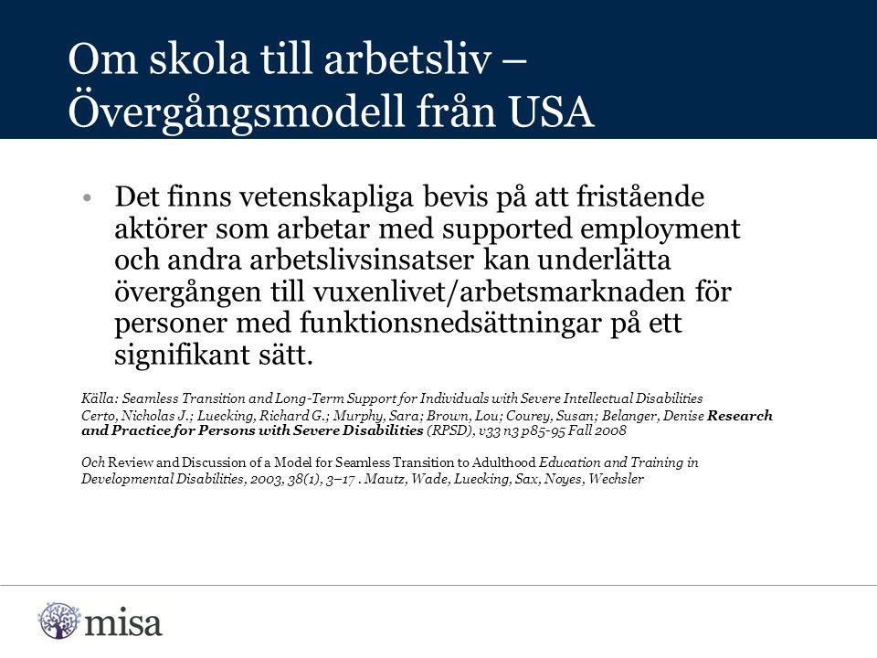 Det finns vetenskapliga bevis på att fristående aktörer som arbetar med supported employment och andra arbetslivsinsatser kan underlätta övergången till vuxenlivet/arbetsmarknaden för personer med funktionsnedsättningar på ett signifikant sätt.