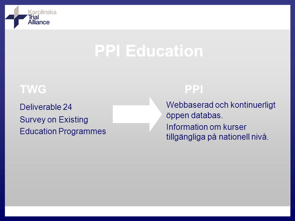 PPI Education TWG Deliverable 24 Survey on Existing Education Programmes PPI Webbaserad och kontinuerligt öppen databas.