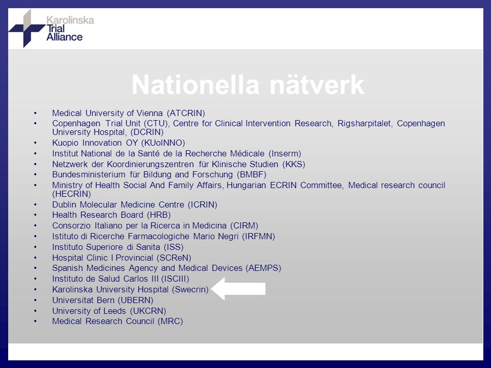 Nationella nätverk Medical University of Vienna (ATCRIN) Copenhagen Trial Unit (CTU), Centre for Clinical Intervention Research, Rigsharpitalet, Copenhagen University Hospital, (DCRIN) Kuopio Innovation OY (KUoINNO) Institut National de la Santé de la Recherche Médicale (Inserm) Netzwerk der Koordinierungszentren für Klinische Studien (KKS) Bundesministerium für Bildung and Forschung (BMBF) Ministry of Health Social And Family Affairs, Hungarian ECRIN Committee, Medical research council (HECRIN) Dublin Molecular Medicine Centre (ICRIN) Health Research Board (HRB) Consorzio Italiano per la Ricerca in Medicina (CIRM) Istituto di Ricerche Farmacologiche Mario Negri (IRFMN) Instituto Superiore di Sanita (ISS) Hospital Clinic I Provincial (SCReN) Spanish Medicines Agency and Medical Devices (AEMPS) Instituto de Salud Carlos III (ISCIII) Karolinska University Hospital (Swecrin) Universitat Bern (UBERN) University of Leeds (UKCRN) Medical Research Council (MRC)