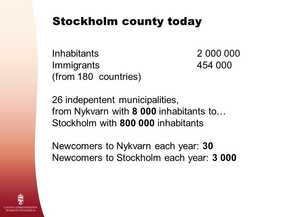 Stockholm county today Inhabitants2 000 000 Immigrants454 000 (from 180 countries) 26 indepentent municipalities, from Nykvarn with 8 000 inhabitants to… Stockholm with 800 000 inhabitants Newcomers to Nykvarn each year: 30 Newcomers to Stockholm each year: 3 000