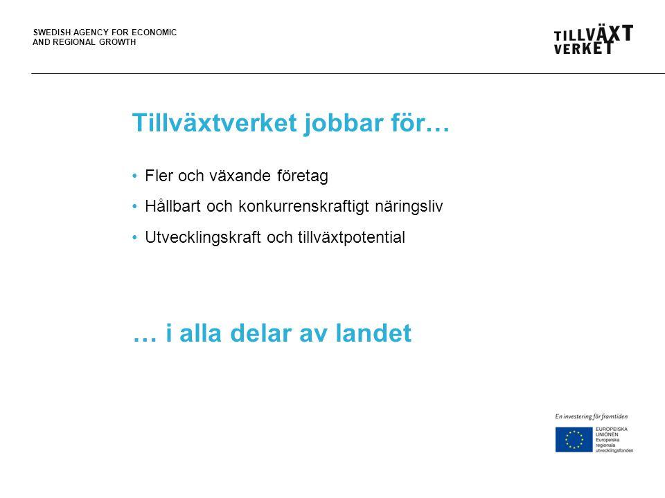 SWEDISH AGENCY FOR ECONOMIC AND REGIONAL GROWTH Våra uppgifter Utveckla företag Förenkla för företag Samla tillväxtarbetet Främja kommersiell och offentlig service Förvalta strukturfonderna