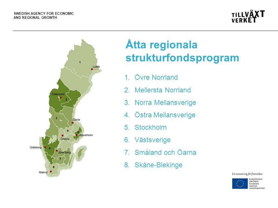 SWEDISH AGENCY FOR ECONOMIC AND REGIONAL GROWTH Övre Norrland – 2,18 miljarder kronor Mål: - 8 000 nya arbetstillfällen - 3 000 nya företag Insatsområden: 1.