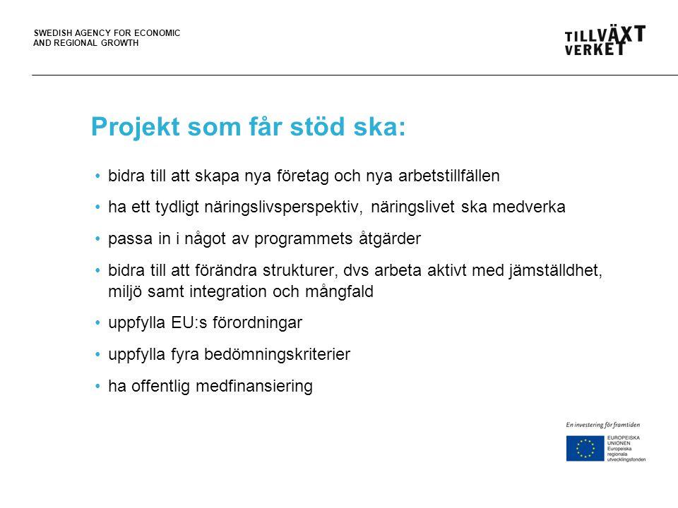 SWEDISH AGENCY FOR ECONOMIC AND REGIONAL GROWTH Tänk på detta vid projektinitiering.