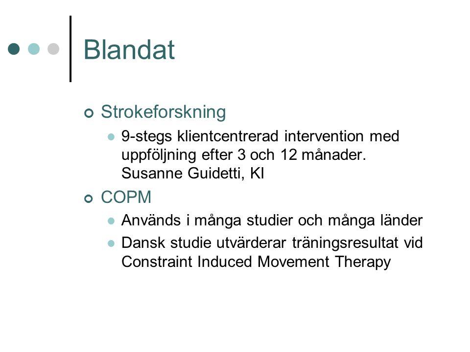 Blandat Strokeforskning 9-stegs klientcentrerad intervention med uppföljning efter 3 och 12 månader.