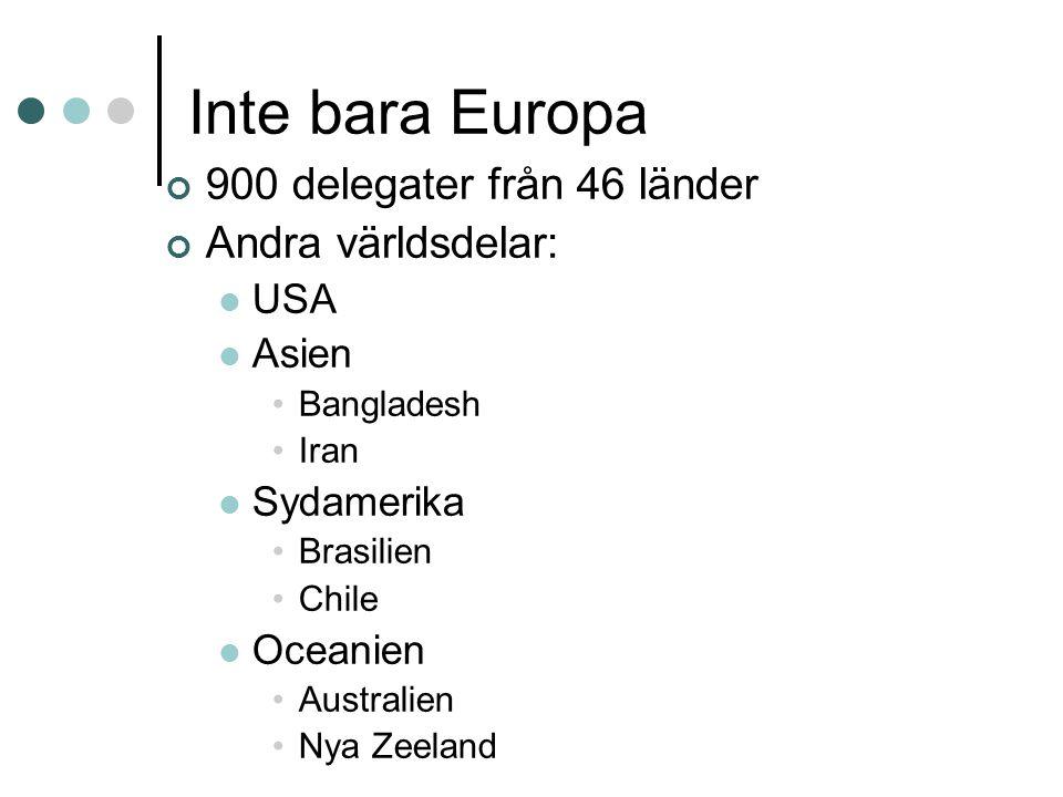 Inte bara Europa 900 delegater från 46 länder Andra världsdelar: USA Asien Bangladesh Iran Sydamerika Brasilien Chile Oceanien Australien Nya Zeeland