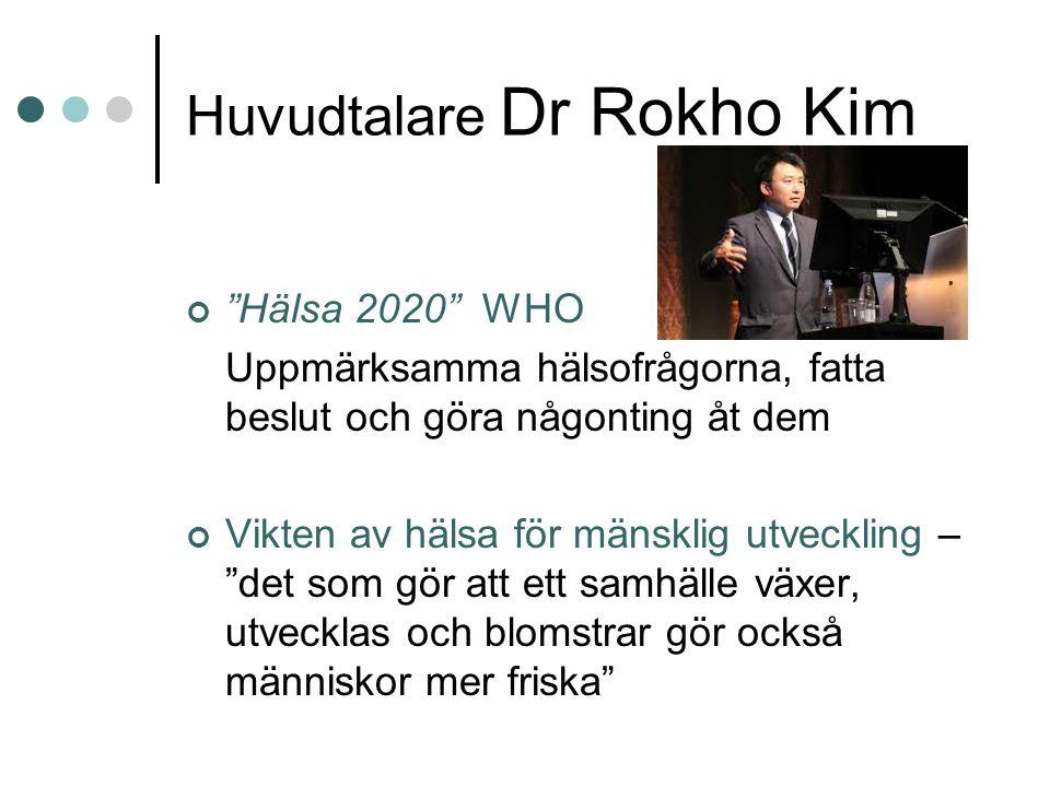 Huvudtalare Dr Rokho Kim Hälsa 2020 WHO Uppmärksamma hälsofrågorna, fatta beslut och göra någonting åt dem Vikten av hälsa för mänsklig utveckling – det som gör att ett samhälle växer, utvecklas och blomstrar gör också människor mer friska
