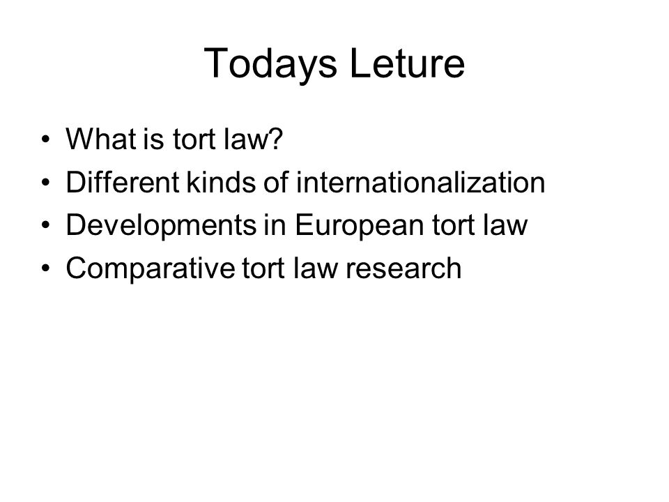 Todays Leture What is tort law? Different kinds of internationalization Developments in European tort law Comparative tort law research