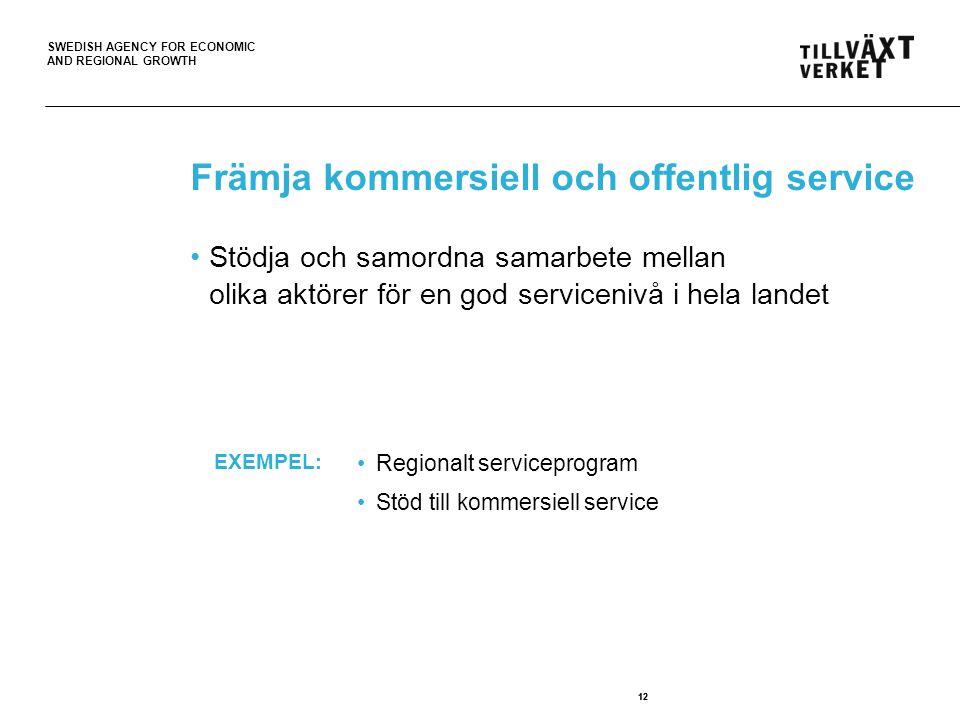 SWEDISH AGENCY FOR ECONOMIC AND REGIONAL GROWTH 12 Främja kommersiell och offentlig service 12 Stödja och samordna samarbete mellan olika aktörer för en god servicenivå i hela landet Regionalt serviceprogram Stöd till kommersiell service EXEMPEL: