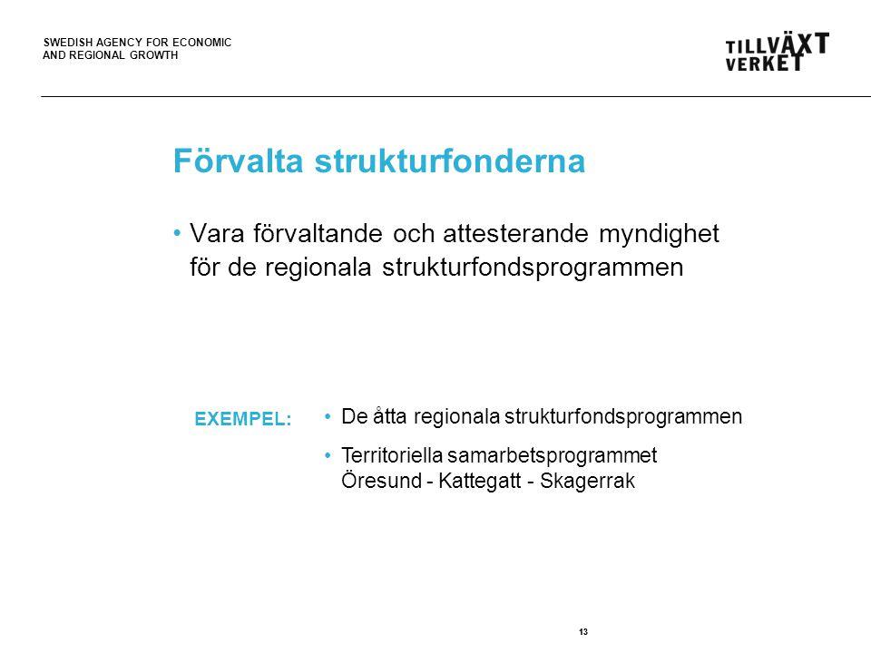 SWEDISH AGENCY FOR ECONOMIC AND REGIONAL GROWTH 13 Förvalta strukturfonderna 13 Vara förvaltande och attesterande myndighet för de regionala strukturfondsprogrammen De åtta regionala strukturfondsprogrammen Territoriella samarbetsprogrammet Öresund - Kattegatt - Skagerrak EXEMPEL: