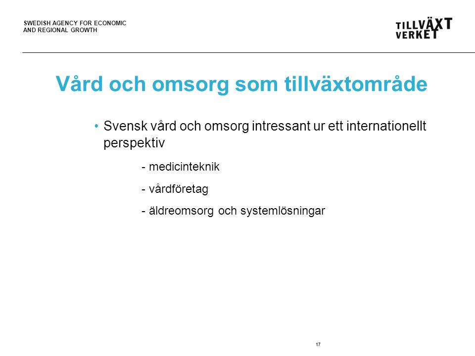 SWEDISH AGENCY FOR ECONOMIC AND REGIONAL GROWTH 17 Vård och omsorg som tillväxtområde Svensk vård och omsorg intressant ur ett internationellt perspektiv - medicinteknik - vårdföretag - äldreomsorg och systemlösningar