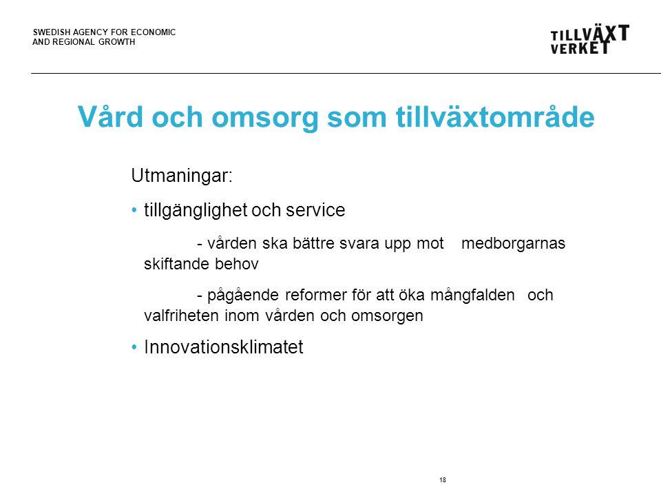 SWEDISH AGENCY FOR ECONOMIC AND REGIONAL GROWTH 18 Vård och omsorg som tillväxtområde Utmaningar: tillgänglighet och service - vården ska bättre svara upp mot medborgarnas skiftande behov - pågående reformer för att öka mångfalden och valfriheten inom vården och omsorgen Innovationsklimatet