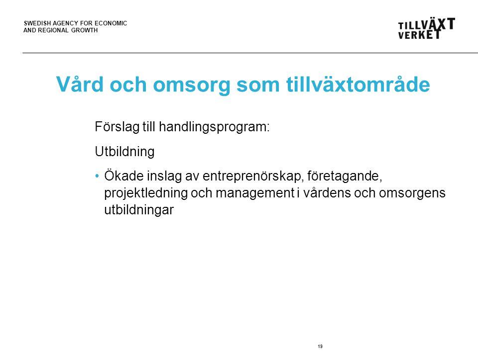 SWEDISH AGENCY FOR ECONOMIC AND REGIONAL GROWTH 19 Vård och omsorg som tillväxtområde Förslag till handlingsprogram: Utbildning Ökade inslag av entreprenörskap, företagande, projektledning och management i vårdens och omsorgens utbildningar
