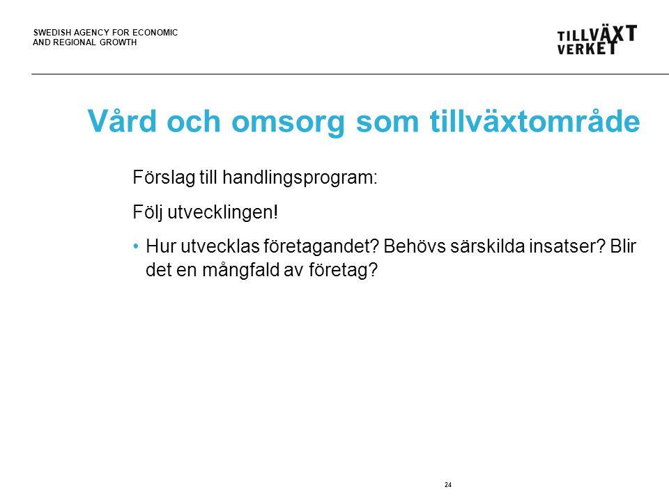 SWEDISH AGENCY FOR ECONOMIC AND REGIONAL GROWTH 24 Vård och omsorg som tillväxtområde Förslag till handlingsprogram: Följ utvecklingen.