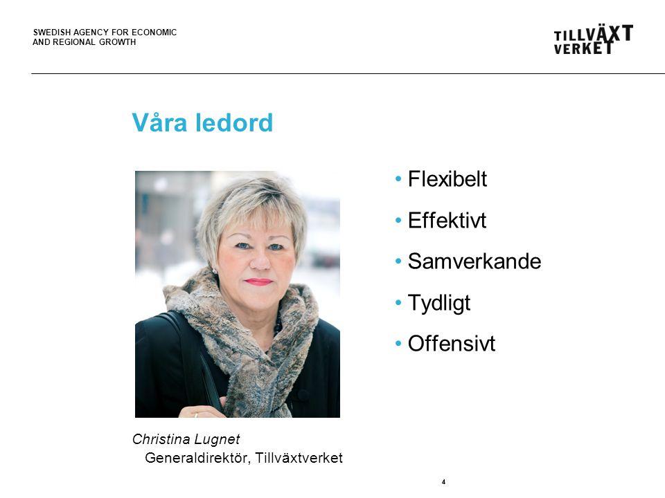 SWEDISH AGENCY FOR ECONOMIC AND REGIONAL GROWTH 4 Våra ledord Christina Lugnet Generaldirektör, Tillväxtverket Flexibelt Effektivt Samverkande Tydligt Offensivt 4