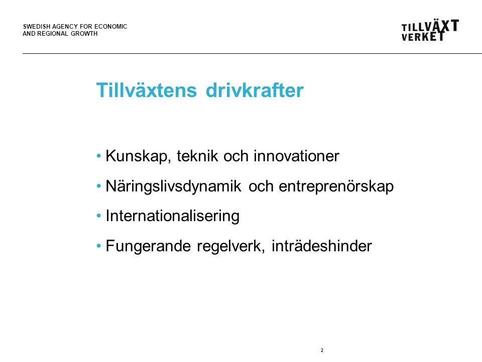 SWEDISH AGENCY FOR ECONOMIC AND REGIONAL GROWTH 3 Ett gemensamt fokus.