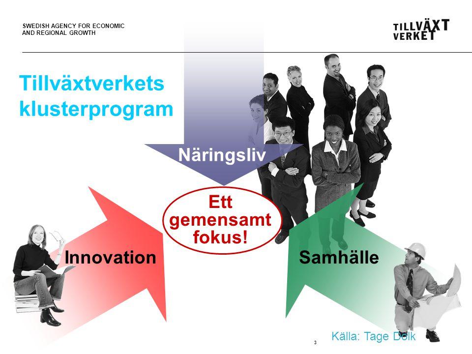 SWEDISH AGENCY FOR ECONOMIC AND REGIONAL GROWTH 4 Kluster Ett organiserat utvecklingsarbete knutet till ett gemensamt kompetensområde.