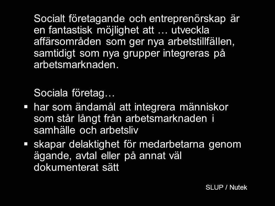 Socialt företagande och entreprenörskap är en fantastisk möjlighet att … utveckla affärsområden som ger nya arbetstillfällen, samtidigt som nya grupper integreras på arbetsmarknaden.
