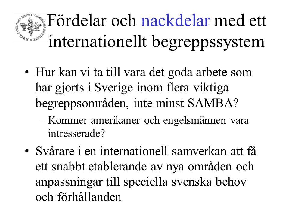 Fördelar och nackdelar med ett internationellt begreppssystem Hur kan vi ta till vara det goda arbete som har gjorts i Sverige inom flera viktiga begreppsområden, inte minst SAMBA.