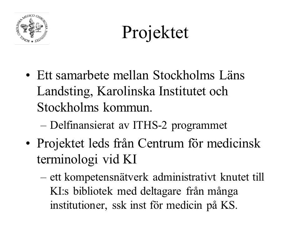 Projektet Ett samarbete mellan Stockholms Läns Landsting, Karolinska Institutet och Stockholms kommun.