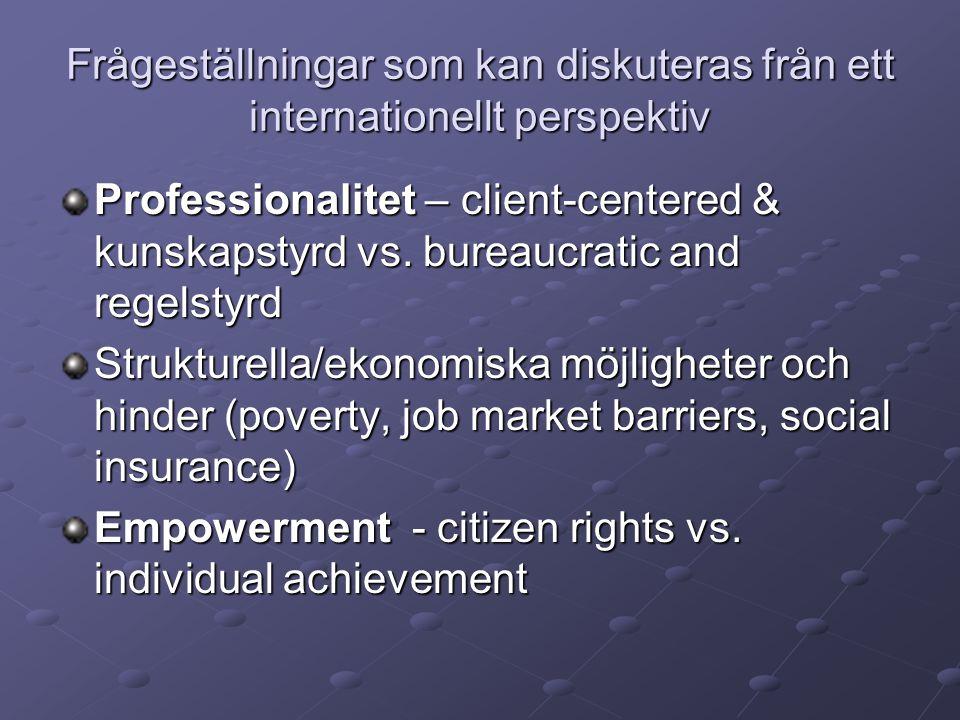 Frågeställningar som kan diskuteras från ett internationellt perspektiv Professionalitet – client-centered & kunskapstyrd vs.