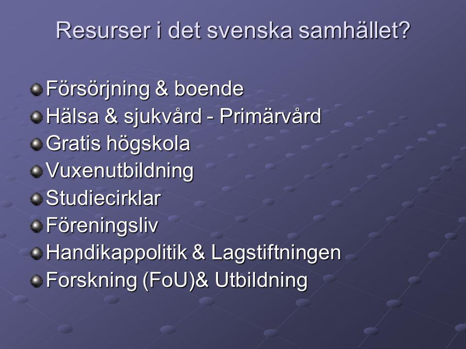 Resurser i det svenska samhället.