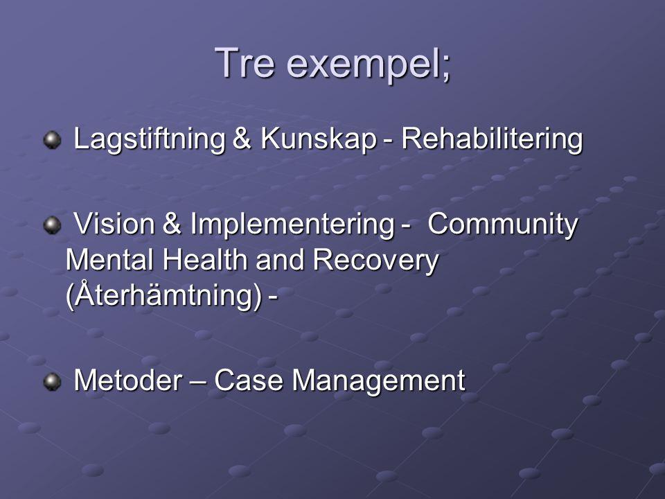 Tre exempel; Lagstiftning & Kunskap - Rehabilitering Lagstiftning & Kunskap - Rehabilitering Vision & Implementering - Community Mental Health and Recovery (Återhämtning) - Vision & Implementering - Community Mental Health and Recovery (Återhämtning) - Metoder – Case Management Metoder – Case Management
