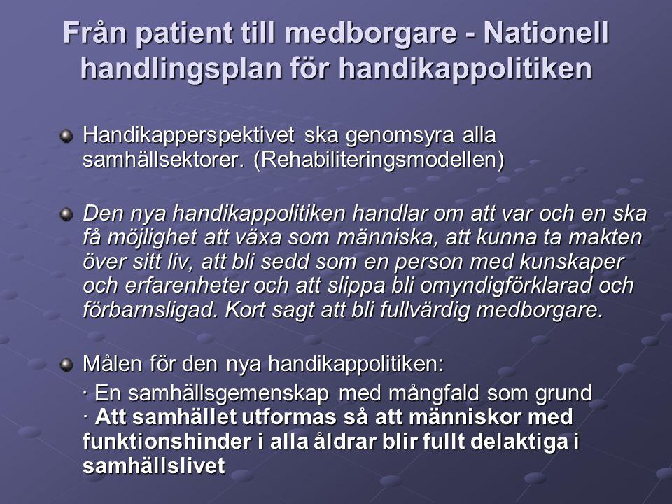 I regeringens proposition 1993/94:218 poängterades behovet att uppmärksamma de psykiskt störda i rehabiliteringssammanhang så att de får tillgång till en god medicinsk, social och arbetslivsinriktad rehabilitering.