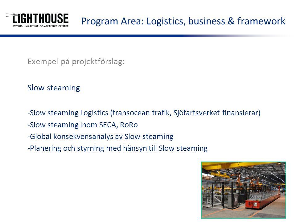 Exempel på projektförslag: Slow steaming -Slow steaming Logistics (transocean trafik, Sjöfartsverket finansierar) -Slow steaming inom SECA, RoRo -Global konsekvensanalys av Slow steaming -Planering och styrning med hänsyn till Slow steaming Program Area: Logistics, business & framework