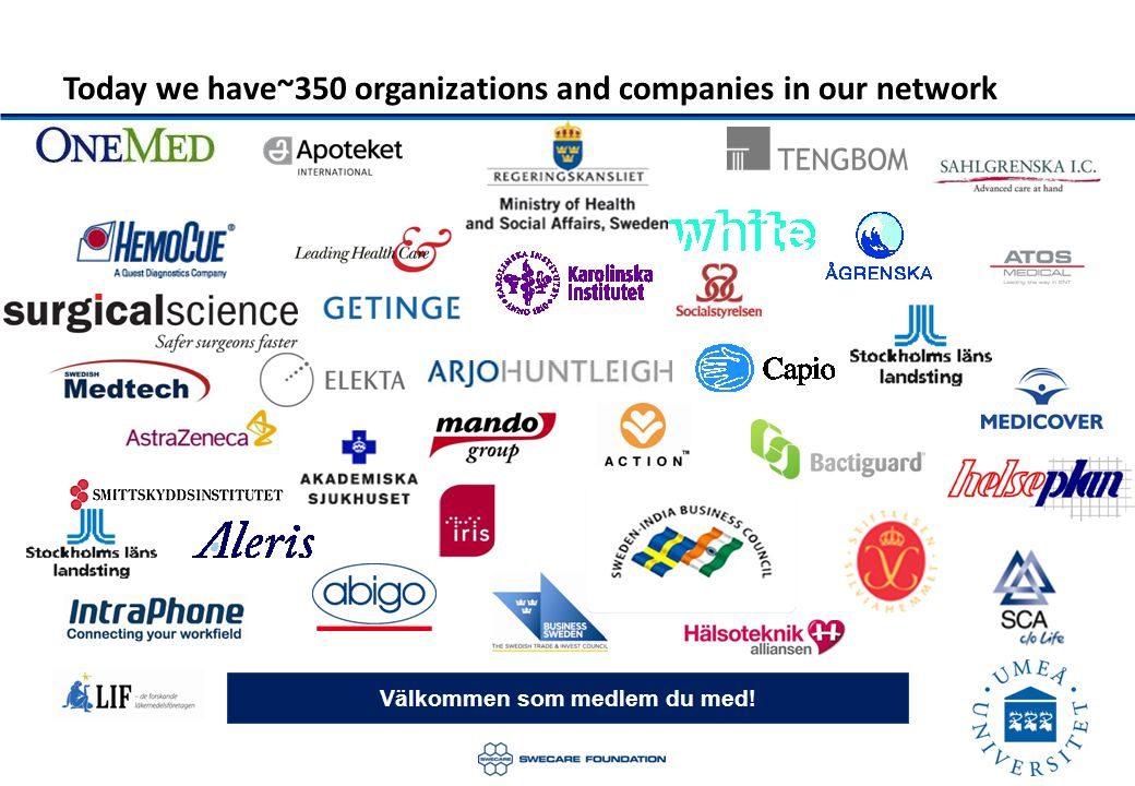 Today we have~350 organizations and companies in our network Välkommen som medlem du med!