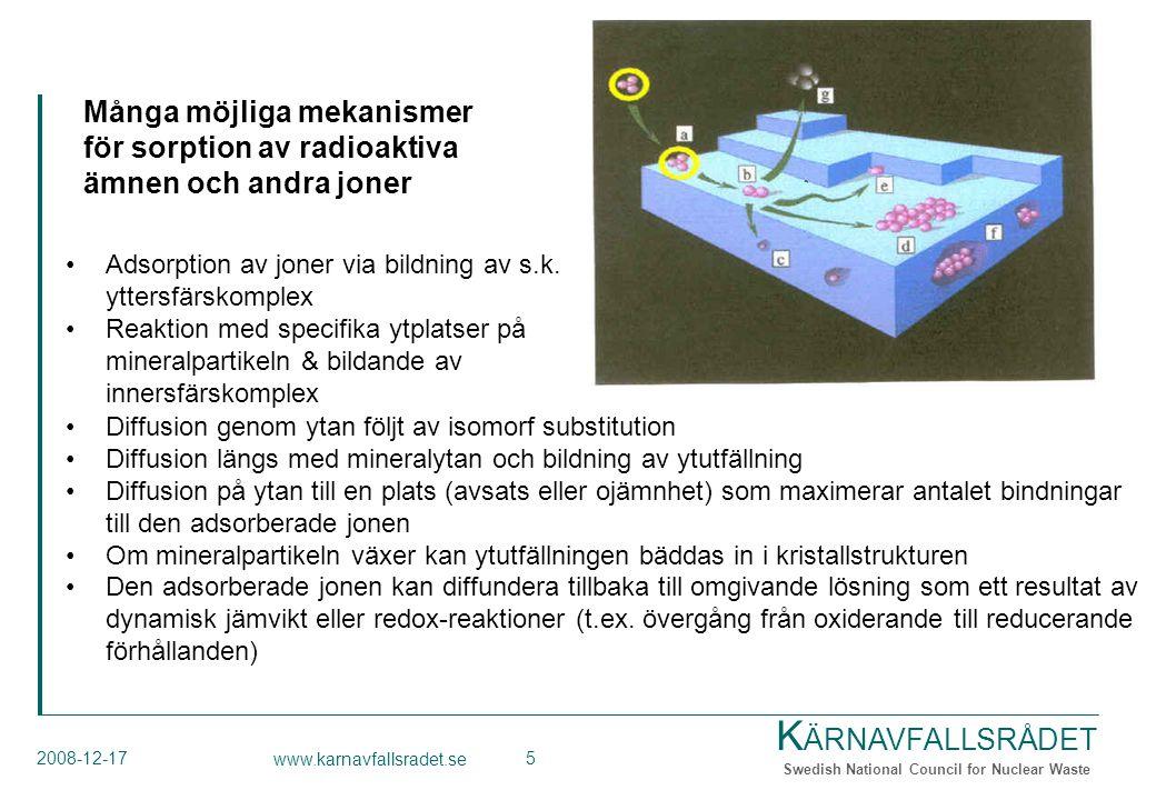 K ÄRNAVFALLSRÅDET Swedish National Council for Nuclear Waste 2008-12-17 www.karnavfallsradet.se 5 Diffusion genom ytan följt av isomorf substitution Diffusion längs med mineralytan och bildning av ytutfällning Diffusion på ytan till en plats (avsats eller ojämnhet) som maximerar antalet bindningar till den adsorberade jonen Om mineralpartikeln växer kan ytutfällningen bäddas in i kristallstrukturen Den adsorberade jonen kan diffundera tillbaka till omgivande lösning som ett resultat av dynamisk jämvikt eller redox-reaktioner (t.ex.