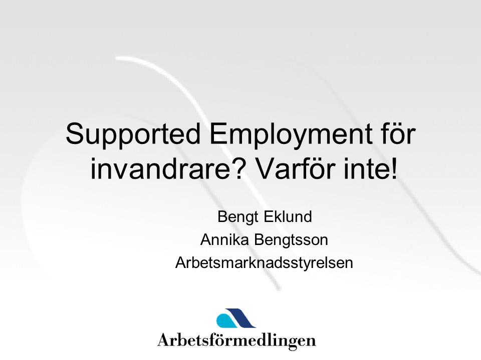 Supported Employment för invandrare. Varför inte.