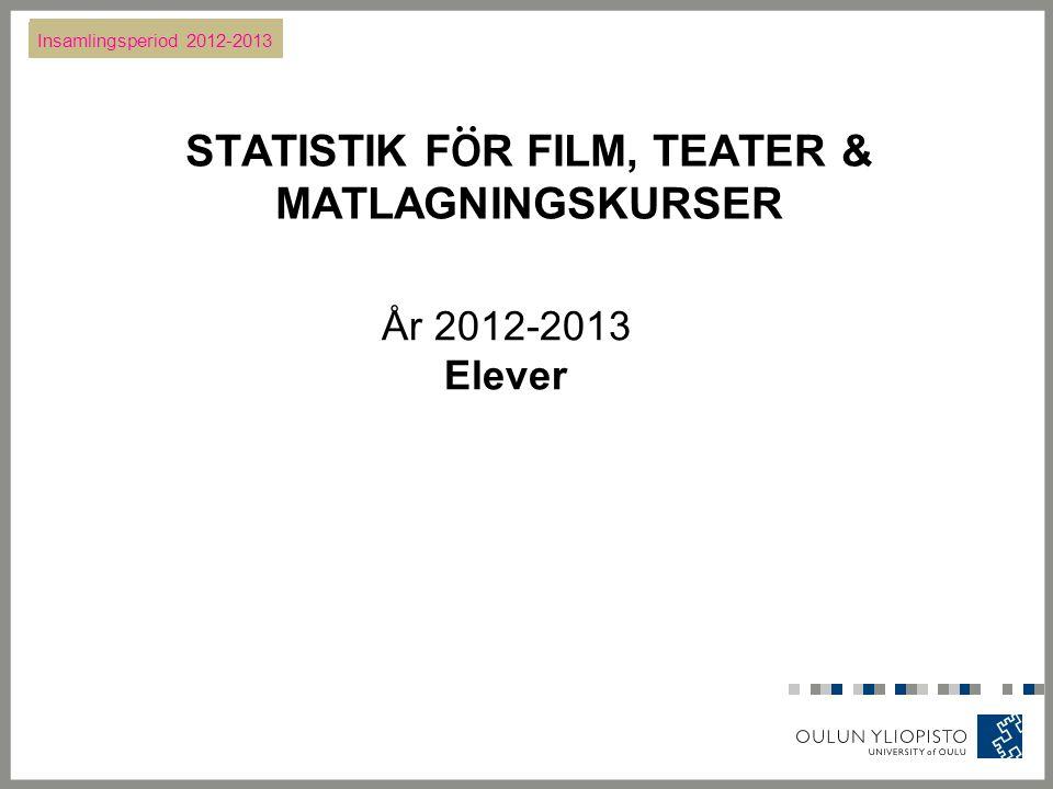 STATISTIK F Ö R FILM, TEATER & MATLAGNINGSKURSER År 2012-2013 Elever Insamlingsperiod 2012-2013