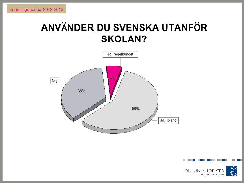 ANV Ä NDER DU SVENSKA UTANF Ö R SKOLAN Insamlingsperiod 2012-2013
