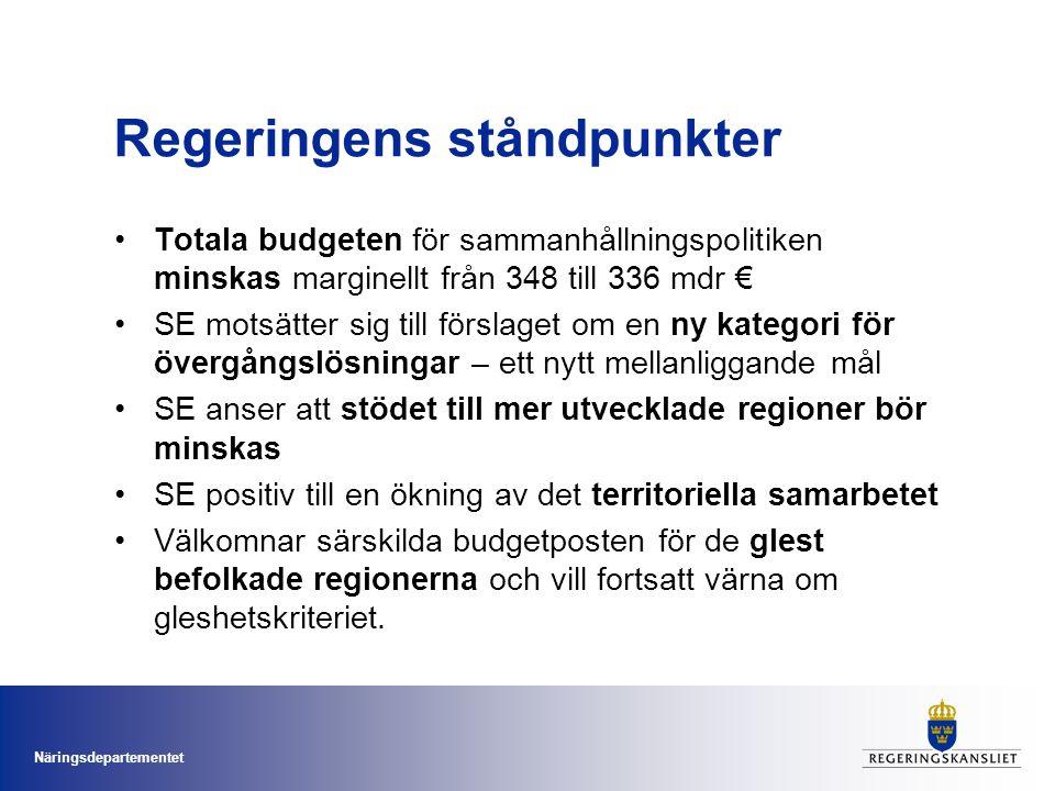 Näringsdepartementet Regeringens ståndpunkter Totala budgeten för sammanhållningspolitiken minskas marginellt från 348 till 336 mdr € SE motsätter sig