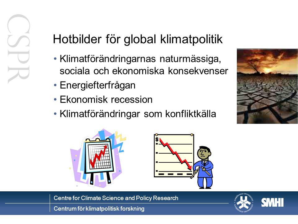 Centre for Climate Science and Policy Research Centrum för klimatpolitisk forskning Hotbilder för global klimatpolitik Klimatförändringarnas naturmässiga, sociala och ekonomiska konsekvenser Energiefterfrågan Ekonomisk recession Klimatförändringar som konfliktkälla