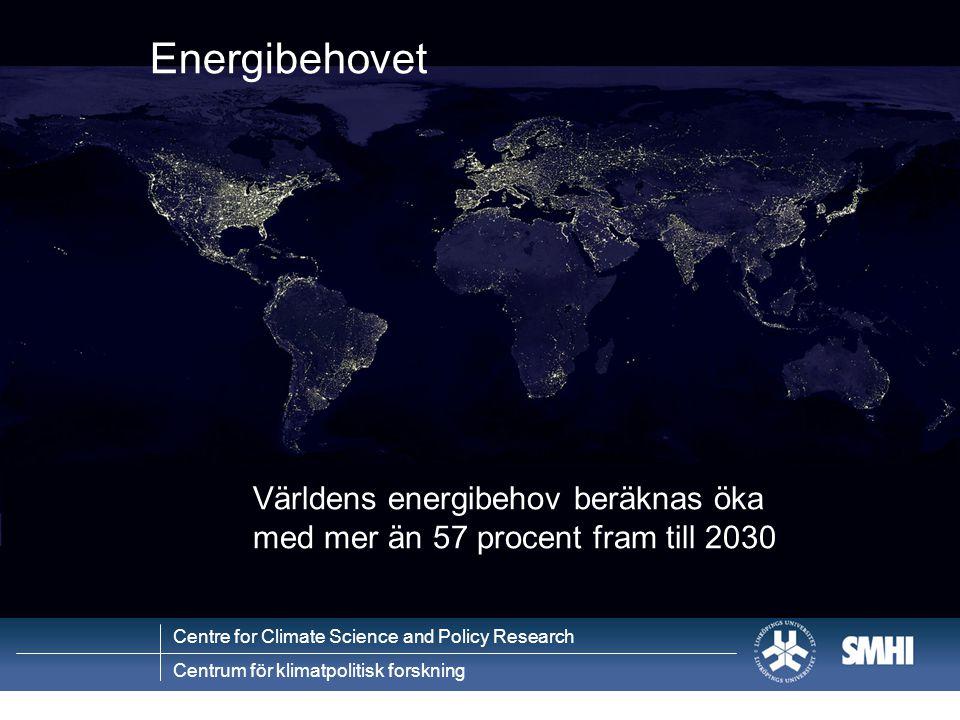 Centre for Climate Science and Policy Research Centrum för klimatpolitisk forskning Världens energibehov beräknas öka med mer än 57 procent fram till 2030 Energibehovet