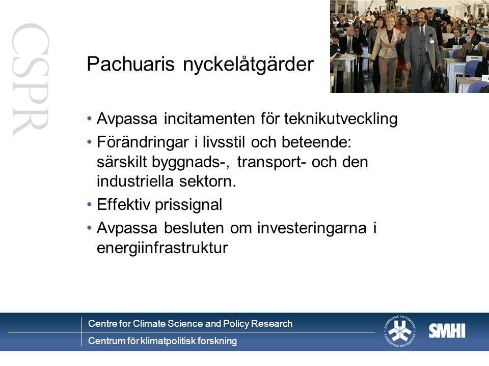 Centre for Climate Science and Policy Research Centrum för klimatpolitisk forskning Pachuaris nyckelåtgärder Avpassa incitamenten för teknikutveckling Förändringar i livsstil och beteende: särskilt byggnads-, transport- och den industriella sektorn.