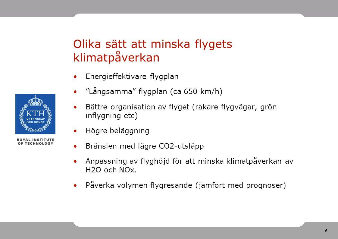 6 Olika sätt att minska flygets klimatpåverkan Energieffektivare flygplan Långsamma flygplan (ca 650 km/h) Bättre organisation av flyget (rakare flygvägar, grön inflygning etc) Högre beläggning Bränslen med lägre CO2-utsläpp Anpassning av flyghöjd för att minska klimatpåverkan av H2O och NOx.