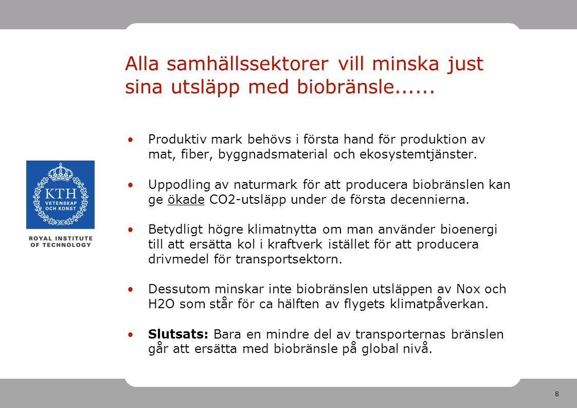 8 Alla samhällssektorer vill minska just sina utsläpp med biobränsle......