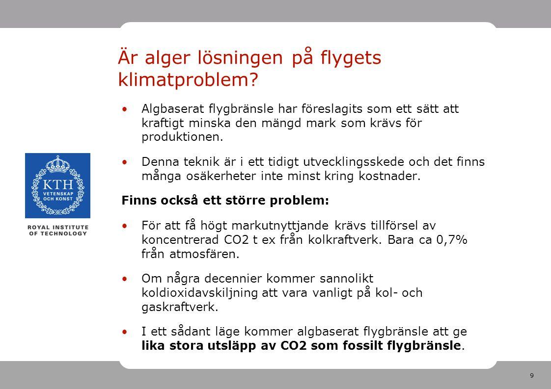 10 Måste det svenska flygresandet minska från dagens nivå om 2-gradersmålet ska nås?
