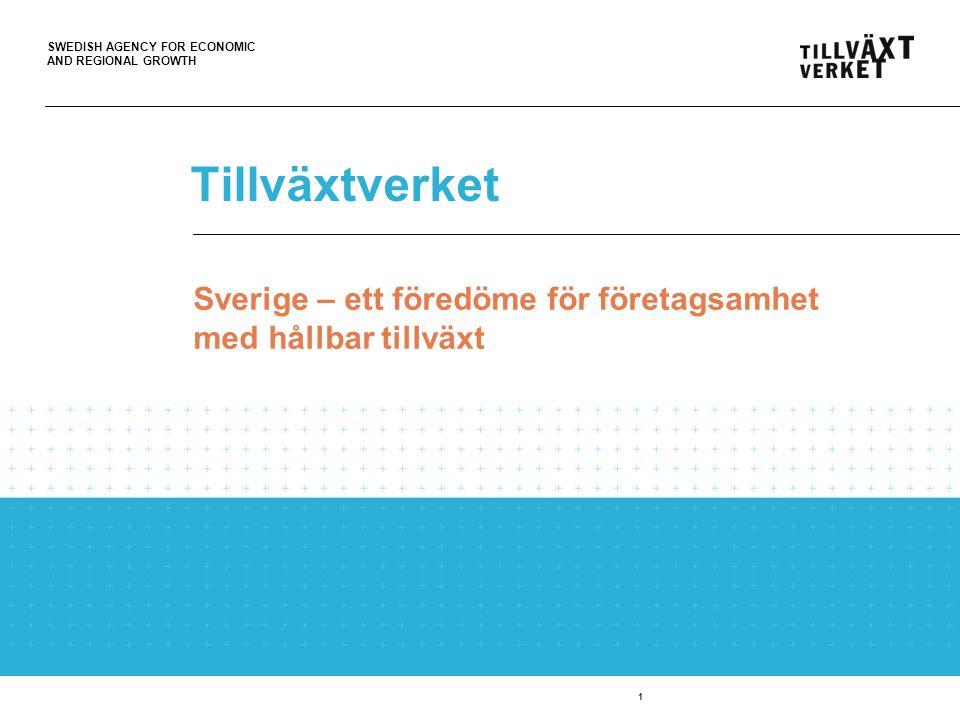 SWEDISH AGENCY FOR ECONOMIC AND REGIONAL GROWTH Tillväxtverket … Underlättar företagande Fler och växande företag Hållbart och konkurrenskraftigt näringsliv Utvecklingskraft och tillväxtpotential 2 … i alla delar av landet