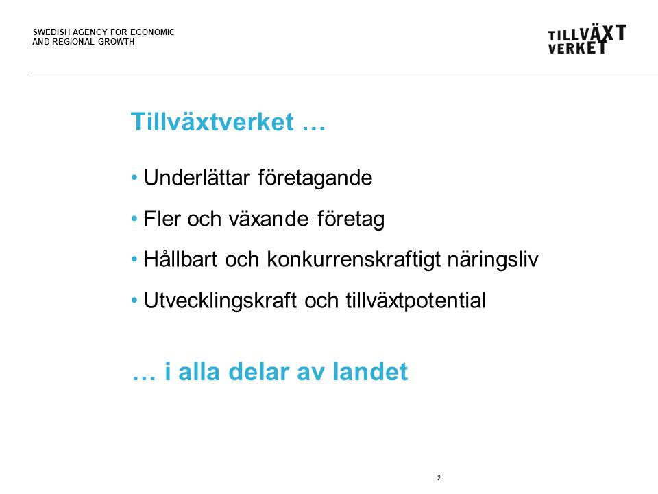 SWEDISH AGENCY FOR ECONOMIC AND REGIONAL GROWTH Våra kontor 11 kontor på 9 orter Huvudkontor i Stockholm För tillväxt i hela landet 3