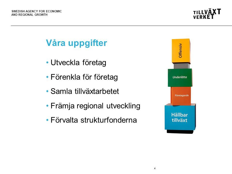 SWEDISH AGENCY FOR ECONOMIC AND REGIONAL GROWTH Våra uppgifter Utveckla företag Förenkla för företag Samla tillväxtarbetet Främja regional utveckling Förvalta strukturfonderna 4