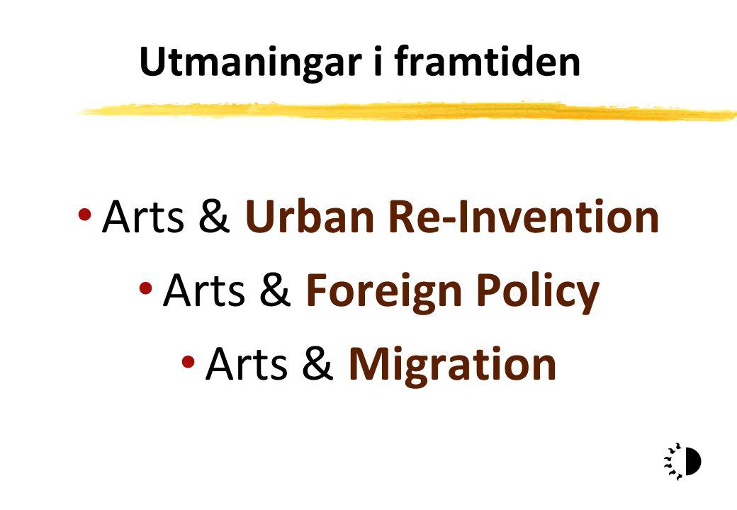 Utmaningar i framtiden Arts & Urban Re-Invention Arts & Foreign Policy Arts & Migration