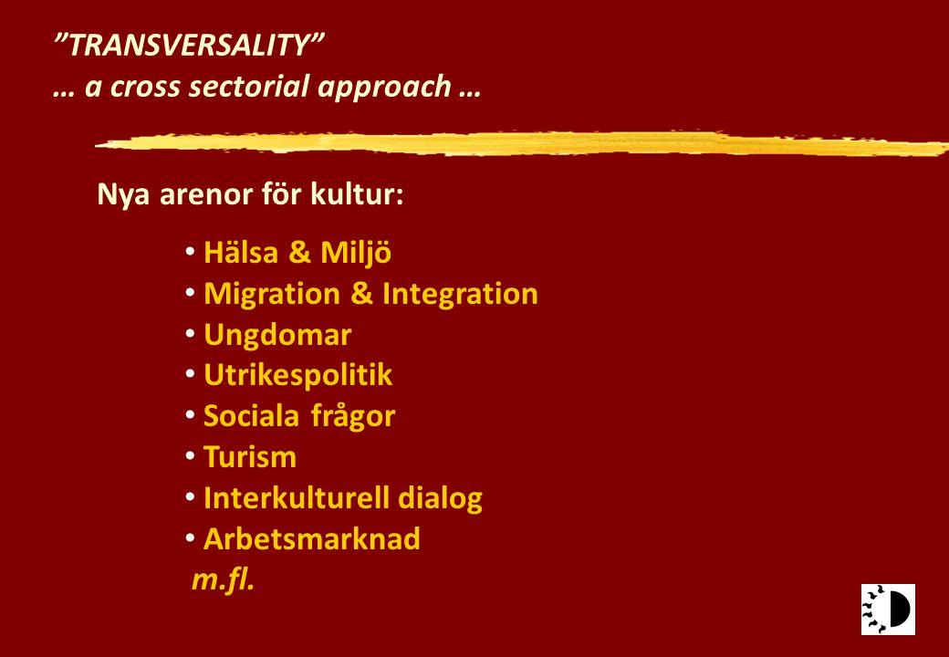 """""""TRANSVERSALITY"""" … a cross sectorial approach … Nya arenor för kultur: Hälsa & Miljö Migration & Integration Ungdomar Utrikespolitik Sociala frågor Tu"""