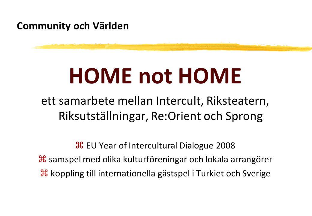 Community och Världen HOME not HOME ett samarbete mellan Intercult, Riksteatern, Riksutställningar, Re:Orient och Sprong zEU Year of Intercultural Dia